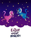 Enjoy every moment. Space cat astronaut walking on the stars. royalty free illustration