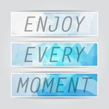 Enjoy every moment. Typography on beautiful Abstract Blue Triang. Ular Polygonal banners set Royalty Free Stock Photography