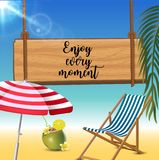 Enjoy every moment typography inscription with parasol, chaise launge and coconut coctail on beach background. Realistic. Sun flare. Vector Illustration royalty free illustration
