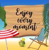 Enjoy every moment typography inscription with parasol, chaise launge and coconut coctail on beach background. Realistic. Sun flare. Vector Illustration vector illustration
