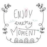 Enjoy every moment word lettering cute illustration vector illustration