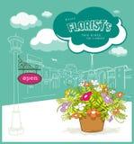 Enjoy florist flower sketching building design. Open Enjoy florist flower with cloud and sketching building design background, illustration royalty free illustration