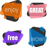 Enjoy, free, great and wow labels isolated on white. vector illustration