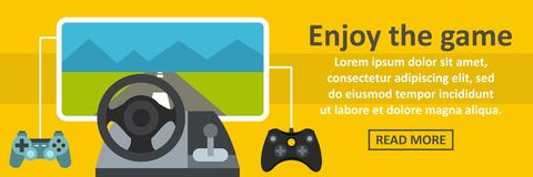 Enjoy the game banner horizontal concept. Flat illustration of enjoy the game banner horizontal vector concept for web Royalty Free Stock Photography