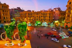Mint tea in Cairo Downtown, Egypt stock photo