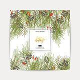 Greeting background with a Christmas tree. Enjoy the holiday handwriting script lettering. Greeting background with a Christmas tree Royalty Free Stock Photo