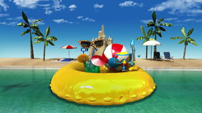 Enjoy holiday vacation in tropical beach concept. (included alpha&#x29 stock footage