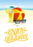 Enjoy the holidays vector quote card design Stock Images