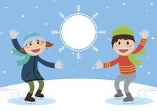 Enjoy ice skating boy and girl. vector illustration. Royalty Free Stock Photography