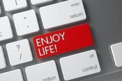 Enjoy Life CloseUp of Keyboard. 3D. Stock Photo