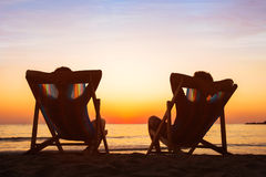 Enjoy Life Concept, Couple Relaxing In Beach Hotel Stock Photography