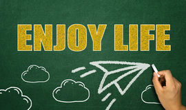 Enjoy life concept with paper plane hand drawn on blackboard Stock Image
