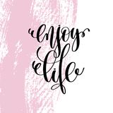 Enjoy life hand written lettering positive quote Stock Images