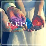Enjoy Life. Hands with many colours. Stock Images