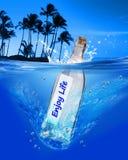 Enjoy life. Message in a bottle enjoy life Royalty Free Stock Photo