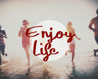 Enjoy Life Pleasure Satisfaction Happiness Concept. Diverse Friends Enjoy Life Pleasure Satisfaction Happiness Stock Image
