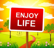 Enjoy Life Shows Live Joyful And Happiness Royalty Free Stock Image