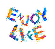 Enjoy life. Splash paint slogan Royalty Free Stock Photography