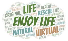 Enjoy Life word cloud. Wordcloud made with text only stock illustration