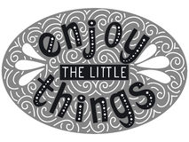 Enjoy the little things. Hand drawn vintage black and white print with lettering. Stock Photo