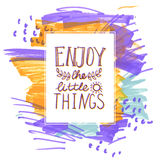Enjoy the little things hand lettering. Royalty Free Stock Photos