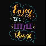 Enjoy the little things hand lettering. Stock Photography