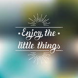 Enjoy the little things hand lettering motivational quote banner. Vector typographic inspirational citation poster. Royalty Free Stock Image