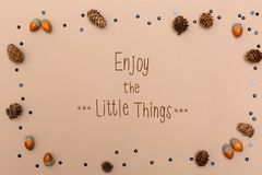Enjoy the little things message with autumn theme royalty free stock image
