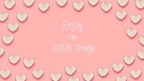 Enjoy The Little Things message with many heart dishes Stock Photos