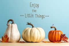 Enjoy the little things message with pumpkins royalty free stock photo