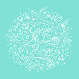 Enjoy the little things. Motivation lettering romantic quote. Hand drawn typography poster. Great for valentine and save the date card Royalty Free Stock Images