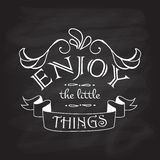 Enjoy the little things motivation square watercolor vintage Stock Photography