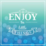 Enjoy the Little Things Quote. Typographical Background. vector illustration. EPS10 Format Royalty Free Stock Images