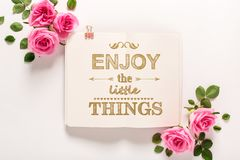 Enjoy the little things with roses and leaves royalty free stock photo