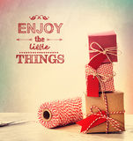 Enjoy the little things with small gift boxes Royalty Free Stock Images