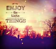 Enjoy the Little Things. Text on twilight background Royalty Free Stock Photography