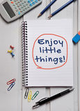 Enjoy little things word Royalty Free Stock Photos