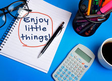 Enjoy little things word Stock Photo