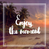Enjoy the moment Inspiration and motivation quotes. Motivational Quote on purple color background Enjoy the moment Royalty Free Stock Image