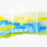 Enjoy the moment. Motivation square watercolor stroke poster.Inspirational saying.  Creative design for card, web design backgroun Stock Images