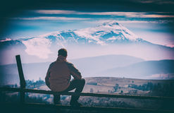 Enjoy the mountain valley. Instagram stylisation Royalty Free Stock Photography