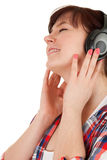 Enjoy music fat girl in headphones Stock Photography
