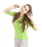 Enjoy music teenage girl in headphones Royalty Free Stock Image