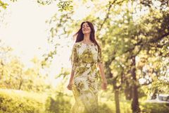 Enjoy in nature, Middle age woman. Beauty in nature stock images