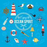 Enjoy ocean spirit. Summer nautical typographical background with place for text. Flat style design. Stock Photo