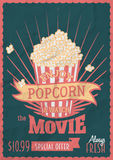 Enjoy popcorn and watch the movie. Poster design template with popcorn bucket. Crumpled paper effects can be easily removed Stock Photography