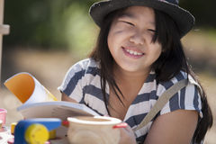 Enjoy reading. Cute asian girls enjoy reading stock images