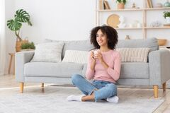 Free Enjoy Relax And Coffee In Free Time Before Work At Home During Covid-19 Lockdown Stock Photography - 211361042