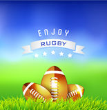 Rugby balls on green field  Stock Image