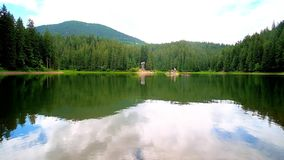 The scenic Synevyr Lake, Ukraine. Enjoy the scenic Synevyr Lake, surrounded by green coniferous forests and Carpathian mountains, reflecting on clear water stock footage